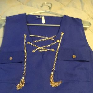 Royal blue top with gold chain